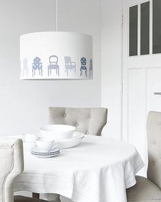 DIY lamp covered with fabric chairs by Ariadne at Home