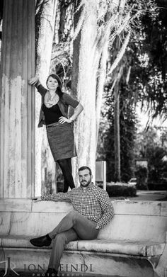 Engagement Photo. Kraft Azalea Gardens engagement session. Orlando Florida wedding photographer. Jon Reindl Photography #black and white #engagement