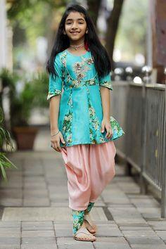 3018fef596d Shop Dreamy Teal Flowers Dress Online For Kids - Curious Village