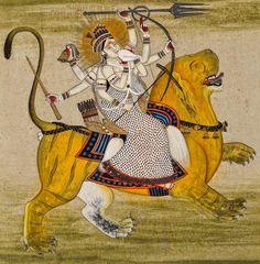 Durga-Vijay, from DeviMahatmya, fighting the rakshashas Shunga and Nishunga. Year unknown.