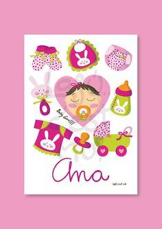 New baby girl nursery wall art...Kids art print por Lajucestmoi