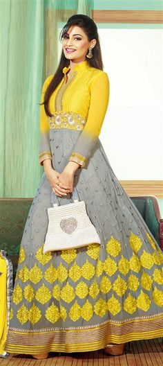 403075: Black and Grey color family unstitched Anarkali Suits.