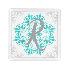 Gray Turquoise Modern Kaleidoscope Damask Pattern Acrylic Tray - rustic gifts ideas customize personalize