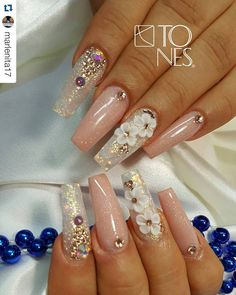 What you need to know about acrylic nails - My Nails French Nails Glitter, Fancy Nails, Bling Nails, 3d Nails, Glitter Nails, Pastel Nails, Nails 2017, Glitter Eyeshadow, Coffin Nails