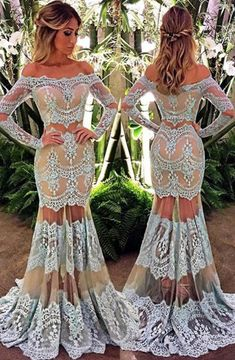 Elegant Off the Shoulder Long Sleeves Floor-Length Turquoise Lace Prom Dress