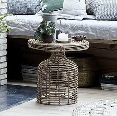 Natural Rattan Side Table by Ella James, the perfect gift for Explore more unique gifts in our curated marketplace. Rattan Side Table, Rattan Coffee Table, Earthy Home Decor, Nordic Style, Paper Art, Bamboo, Patio, Living Room, Cabinets