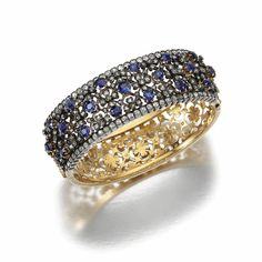 SAPPHIRE AND DIAMOND BANGLE, LATE 19TH CENTURY
