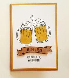 Stampin Up Karte. Männerkarte. Maßvolle Grüße. Bier.