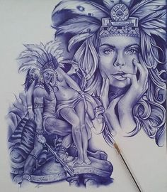 Azteca Warrior Drawing with Blue Pen . Chicano Drawings, Chicano Tattoos, Art Drawings, Gangster Drawings, Aztec Tattoo Designs, Aztec Designs, Aztec Drawing, Arte Lowrider, Mexican Artwork