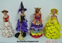 Arteirices da Dru: Vitrine de Idéias: Bonecas Tipo Barbie com Vestido...