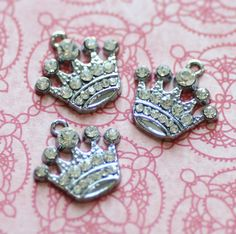 3pcs Silver Rhinestone Crown Charms 21x20mm  by DiscountCharms, $3.39