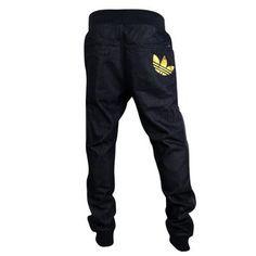 b314238ad20529 Mens Adidas Originals Cuffed Denim Blue Jeans Tracksuit Bottoms Pants  Joggers L Adidas Hose