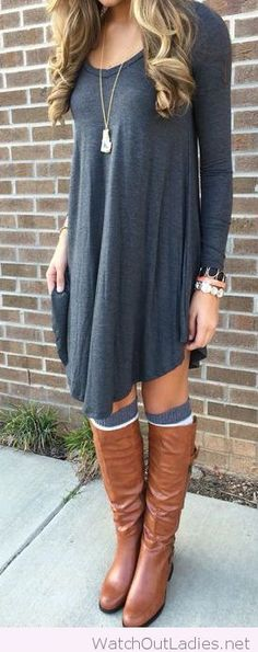 Grey dress and brown boots with accessories