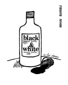 """BLACK & WHITE"" Caricatura de MIHAI BARBU, publicata in almanahul PERPETUUM COMIC '97 editat de URZICA, revista de satira si umor din Romania"