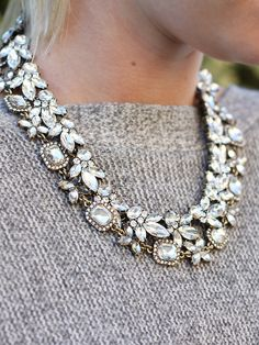 Necklaces Statement Parisian Crystal Statement Collar Necklace Duo (set of – Olive Piper - Name Necklace Silver, Crystal Necklace, Pendant Necklace, Silver Necklaces, Pearl Pendant, Pearl Bracelets, Onyx Necklace, Diamond Necklaces, Diamond Jewelry