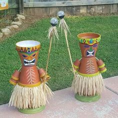 My clay pot Tiki boys Best DIY Flower Pot Ideas and Designs Plant flower pot ideas and design from Used Item - The visibility of plants in the house does not only work as decorations, but likewise other benefits. Arts And Crafts Style Furniture Refferal: Clay Flower Pots, Flower Pot Crafts, Clay Pot Crafts, Flower Pot Art, Flower Pot People, Clay Pot People, Painted Clay Pots, Painted Flower Pots, Crafts For Boys