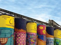 Come marvel at 'Giants', the largest outdoor mural ever created by Brazilian artists OSGEMEOS on Ocean Concrete's six gigantic silos. Granville Island, Island Life, Vancouver, Concrete, Marvel, Ocean, Entertaining, Artists, Spaces