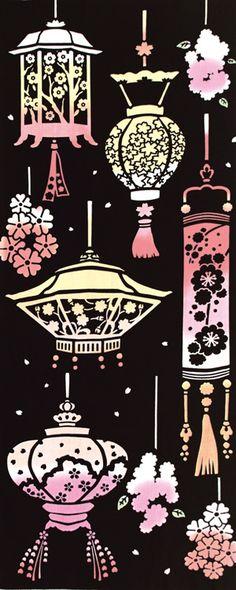 [気音間]手ぬぐい【春・さくら】桜灯篭(灯籠・提灯)日本手拭い(てぬぐい)