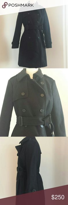 J.crew icon trench coat wool cashmere black sz p6 Classic trench fit, hits above knee, Italian wool cashmere by Nello Gori.  Round collar, button tabs at shoulders, buckle tabs at cuffs. Flap welt pockets. Front and back flanges. Lined. J. Crew Jackets & Coats Trench Coats