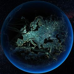 Major road and rail networks in Europe, along with transmission line and underwater cable data, superimposed over satellite images of cities illuminated at night