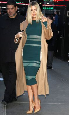 KHLOÉ KARDASHIAN camel coat
