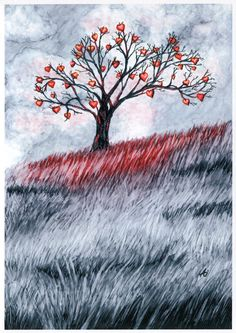 Heart Tree Card, 5x7 Art Print, Black and White Greeting Card. $4.99, via Etsy.