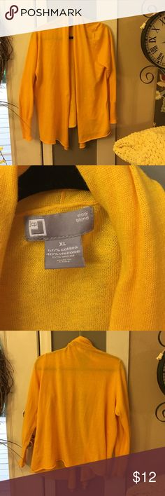 JC Penny Yellow Open Cardigan Excellent condition, bright yellow, gold color of yellow,  pic of materials in photos. Measures about 28 inches in length jcpenney Sweaters Cardigans