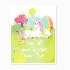 Unicorn wall art, art for girls, rainbow art, Nursery wall decor for girls