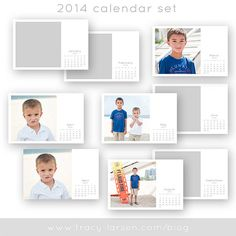 2014 calendar photo templates + monthly photoshop brushes - psd layered 4x6 printable files + 12 monthly digital brushes