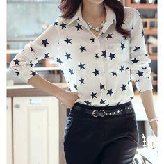 Star Pattern Laconic Turn-Down Collar Long Sleeve Women's Shirt, WHITE, L in Blouses | DressLily.com
