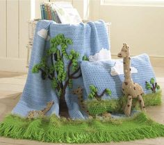 Watch Maggie review this adorable Giraffe Afghan, Pillow and Toy Crochet Pattern! Original Crochet Pattern by: Marie Murray and Rosemarie Fagan Skill Level: Easy Size: Afghan: 36″ wide x 45″ long; Pil