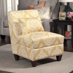 Porch & Den Los Feliz Normandie Large Accent Chair (Yellow and cream (Ivory) damask) (Fabric)