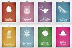 8 x Disney Movie Posters - Disney Princess, Poster, Minimalist Print, Digital Art Print