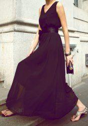 Elegant V-Neck Solid Color Chiffon Dress For Women