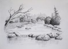 Pencil Drawing Tutorials Online Art Class - Intro to Landscape Drawing - Paint Basket TV - Join Dennis Clark on a journey into the wonderful world of landscape drawing. Pencil Sketches Landscape, Landscape Drawing Easy, Landscape Illustration, Landscape Art, Nature Sketch, Nature Drawing, Drawing Rocks, Pond Drawing, Basket Drawing