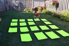 Oversized Memory Game - genius! Visit www.YourTherapySource.com for more gross motor activities.