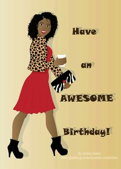 Happy Birthday Card for women- Beautiful black (African American) woman wearing… Happy Bday Pics, Happy Birthday Black, Happy Birthday Niece, Birthday Cards For Women, Happy Birthday Messages, Happy Birthday Quotes, Happy Birthday Images, Happy Birthday Greetings, Happy Birthdays