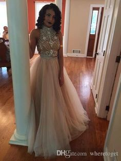 High Neck Two Piece Prom Dresses 2015 Spring Backless Beads Crystals Tulle Formal Prom Gowns Custom Made Long Party Dresses from Wheretoget,$128.44 | DHgate.com