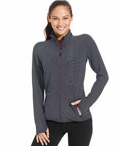 Calvin Klein Performance Jacket, Logo Fleece Zip-Up - Juniors Activewear - Macy's