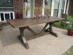 x-base farmhouse table built with Ana White plans