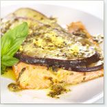 Recipe of : Baked Eggplant and Trout Fillets with Basil Sauce