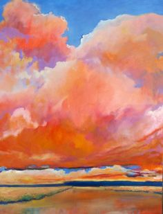 Darien River Clouds, 48x36 oil on gallery canvas by contemporary landscape artist, carly hardy