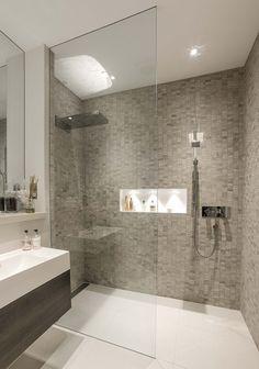 Modern bathroom shower tile walk in shower ideas services modern bathroom Contemporary Shower, Contemporary Bathroom Designs, Modern Bathroom Decor, Bathroom Layout, Basement Bathroom, Bathroom Interior, Bathroom Ideas, Shower Ideas, Modern Bathrooms