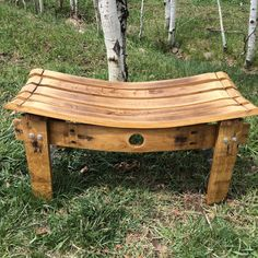 This #bench is made from a #repurposed white #wine barrel. I can also make them from red wine barrels. The bench has several coats of outdoor polyurethane and can be used insi... #upcycled #etsy #winebarrel #garden #stave #barrel #oak #wood #recycled