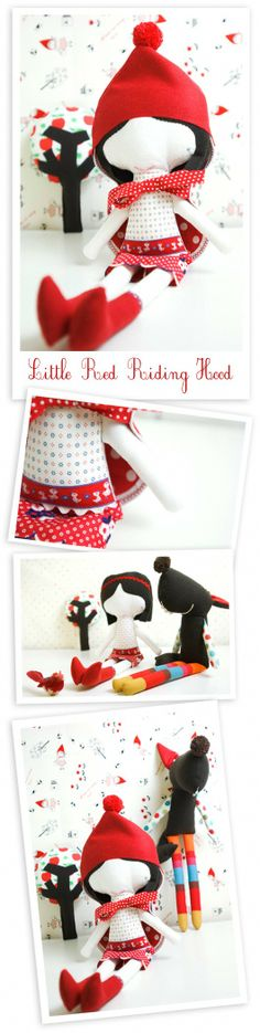 Set of softies from the classic tale Little Red Riding Hood  by PinkNounou.