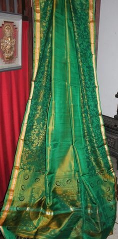 Pure Uppada Silk #Saree with inhouse kalamkari printing on it. These designs are handpicked and will not be repated to maintain its exclusivity. Color: Green