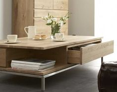 Ligna Coffee Table from Belgium with solid oak top and stainless-steel frame…