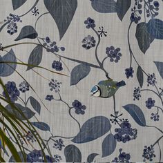 Blue Tit Fabric - Fabric by the metre - Blue Tit Bird - Lorna Syson Fabric Birds, Blue Fabric, Blue Springs, Fabric Samples, Soft Furnishings, Ivy, Floral Design, Wildlife, Blue Tit