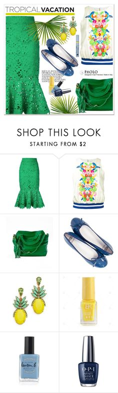 """""""Welcome to Paradise: Tropical Vacation and PaoloShoes"""" by spenderellastyle ❤ liked on Polyvore featuring Bambah, Manish Arora, Elizabeth Cole, Lauren B. Beauty, OPI, Estée Lauder and TropicalVacation"""