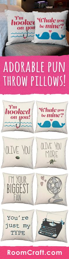 Celebrate your love with these adorably cute throw pillows. Give as a valentines day gift or for that special anniversary! All designs are offered in multiple colors, sizes and fabrics. Each couples pillow cover set is made to order in the USA and features 3 wooden buttons on the back for closure. Choose your favorite and create a truly unique pillow set! #roomcraft